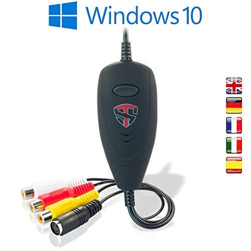 TechSide Convertitore VHS Analogico Digitale Nuova Versione 2021 | Compatibile Windows 10 + Nuovo Software | USB 2.0 Audio Video Grabber Capture| Converti in Formato Digitale Le Vecchie VHS
