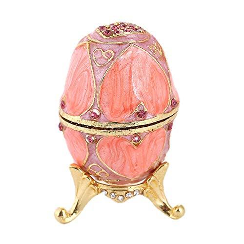 JOMOSIN SNH0216 - Joyero esmaltado con bisagras, diseño de huevo de Pascua esmaltado, regalo para cualquier ocasión para anillos y collares (color: rosa, tamaño: 5 x 9,5 cm)