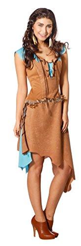 Karneval-Klamotten Indianer Kostüm Damen sexy Luxus Indianerin Kostüm braun türkis Karneval Damen-Kostüm Größe 40
