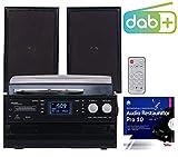 auvisio Stereoanlage: 5in1-Plattenspieler mit DAB+/FM-Radio, Bluetooth, CD/Kassetten-Player (Stereoanlagen mit Plattenspieler)