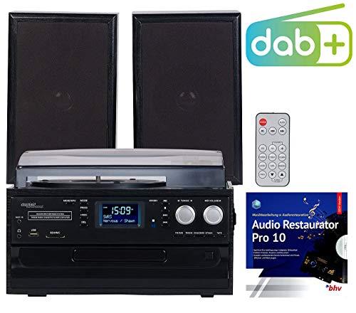 auvisio Schallplattenspieler: 5in1-Plattenspieler mit DAB+/FM-Radio, Bluetooth, CD/Kassetten-Player (Musikanlage mit Plattenspieler)