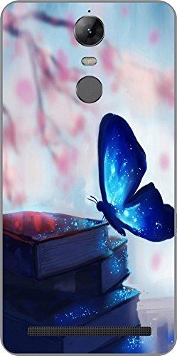 Shengshou Butterfly Design Mobile Back Cover for Lenovo Vibe K5 Note 2017 - Blue Pink