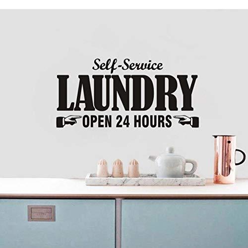 Pegatinas de pared de lavandería mural decoración de la puerta del hogar etiqueta de la pared autoservicio lavadora de texto de 24 horas decoración del cuarto de lavado 57x28 cm