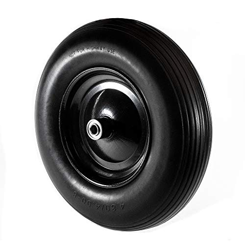 ALEKO 2WBNF16 Anti Flat Ribbed Replacement Wheel for Wheelbarrow 16 Inches No Flat Tire Black Lot of 2