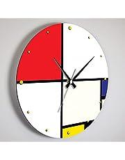 Giallobus - Podstawowy zegar liniowy - Piet Mondrian - Kompozycja n. 9 z czerwonym, niebieskim i białym - Drewno MDF - Orologi linea basic 30x30