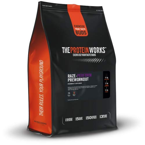 The Protein Works RAZE-Perform High Intensity Preworkout Powder, Caffeine, Beta Alanine, Creatine Monohydrate, 2:1:1 BCAAs, Green Apple kick, 20 Servings, 500 g