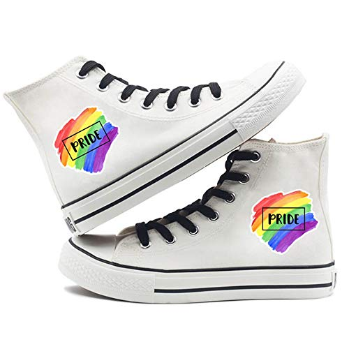 Rainbow Shoes LGBT Pride Canvas Sneakers Fashion Hip-hop Style High-Top Shoes Exquisite Printed for Men&Women