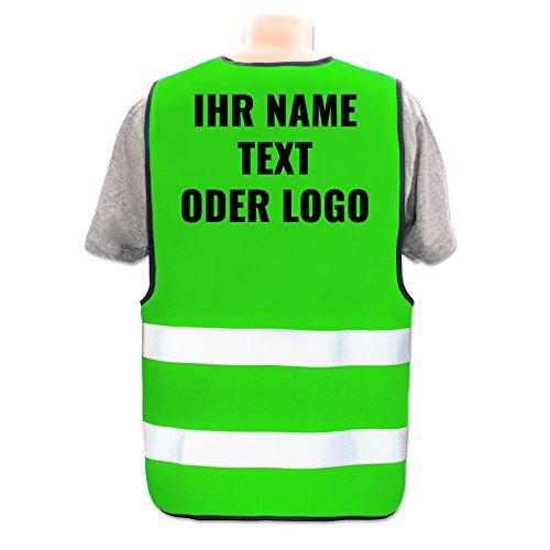 Persönliche Warnweste selbst gestalten mit eigenem Aufdruck * Bedruckt mit Name Text Bild Logo Firma, Menge:1 Warnweste, Farbe/Position:Neon Grün/Rücken (29 x 21 cm)