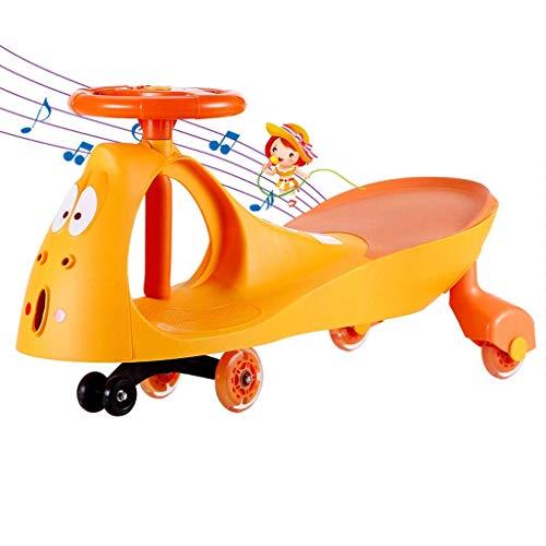 CAIMEI Niños 's Twist Car, Swing Car Niños Juguete Swing Wiggle Gyro Swivel Scooter Regalo Divertido Paseo Música Volante Rueda de Flash Silenciosa Portátil (Color: Azul),Naranja