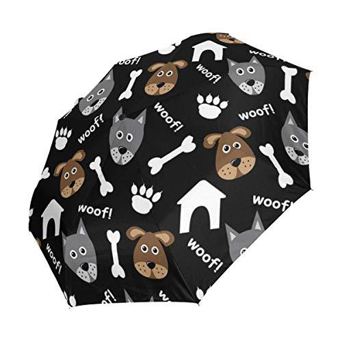 XiangHeFu Regenschirm mit Hundemotiv, automatisches Öffnen, 3 Falten, leicht, UV-Schutz