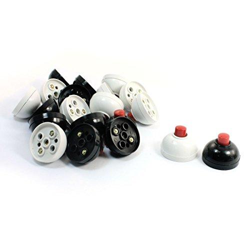 sourcingmap® wandmontage wit zwart drukknop schakelaar deurbel AC 12V-240V 3A 20 stuks