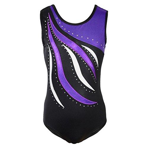 Shiny Waves Metallic Athletic Dance Gymnastics Leotard Bodysuit Outfit for Girls Purple Waves Black Size 14