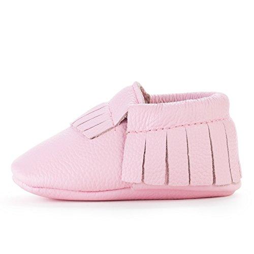 BirdRock Baby BirdRock Baby Mokassins Weichen Sohle Leder Boys und Girls Schuhe für Kinder, Babys und Kleinkinder (Large | 18-24 Months | US 6.5, Light Pink)