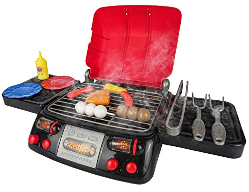Kids Pretend Play Food BBQ Playset with Sound Smoke Light and BBQ Accessories Funny Grill Cooking Play Toy for Kids Toddlers (Red)