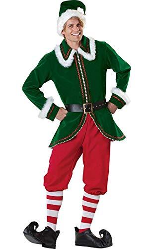 Neilyoshop Men's Elf Costume Adult Deluxe Santa Cosplay Suit Christmas Costume X-Large Green