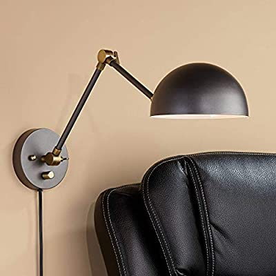 Kenora Industrial Swing Arm Wall Lamp Gunmetal Antique Brass Plug-in Light Fixture Adjustable Up Down for Bedroom Bedside Living Room Reading - 360 Lighting