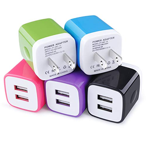 USB Wall Charger, Charging Block, 5Pack 2.1A Wall Plug Portable Power Cube Brick Charger Adapter Compatible with iPhone 11/11 Pro Max/Xs Max/Xs/XR/X/8/7/6S/6 Plus, Samsung Galaxy S20 A10e A20 A50 A80