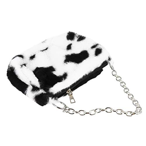 VALICLUD Women Fluffy Plush Shoulder Bag Purse Bolso de Embrague Cow Print Handbag Underarm Purse for Lady