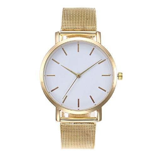Moda de malla cinturón mujer reloj estilo simple reloj de cuarzo casual relojes populares europeos y americanos,Gold