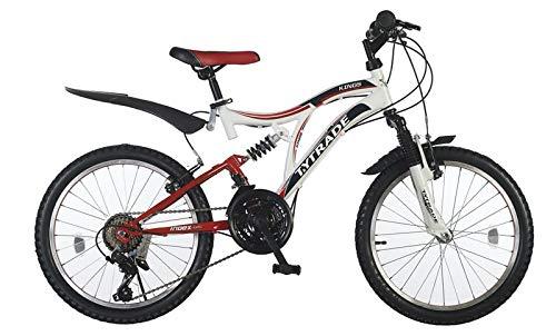 "20\"" 20 Zoll Kinderfahrrad MTB Mountainbike Vollgefedert Kinder Fahrrad Rad Bike Jugendfahrrad Kings Weiß ROT"