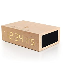 GOgroove TYM Bluetooth Digital Alarm Clock Speaker - Wood Alarm Clock w/Built in Microphone, LED Time & Date Display, Paired Streaming or AUX for Phones, MP3 Players, Tablets (Light Stain)