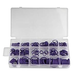 Andux Juego de surtido de arandelas de sellado de goma con junta tórica 225 piezas 18 tamaños QC-MFX01 (Púrpura, 225 piezas)