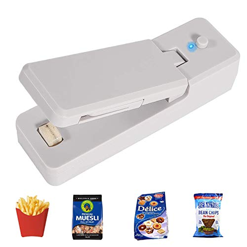 Mini Bag Sealer, 2 in 1 Mini Food Heat Sealer, Handheld Sealer and Cutter for Food Plastic Bags Storage, Keep Snack Fresh, Portable, Sturdy (Rechargeable)