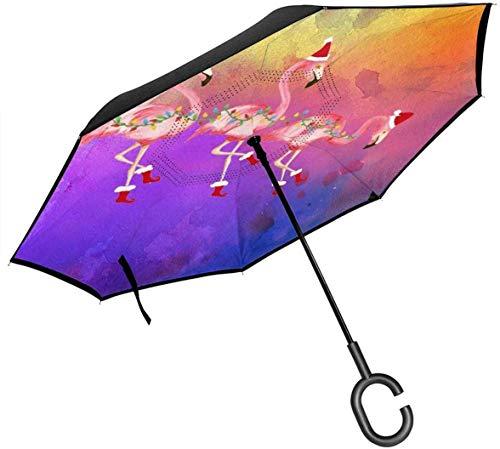 Reverse Umbrella Out Umbrella 2 Layer Folding Winddicht UV-Schutz Langlebig Mit C-förmigen Griff Flamingo Mit Weihnachtsmützen Für Auto Regen Outdoor 8 Skeleton