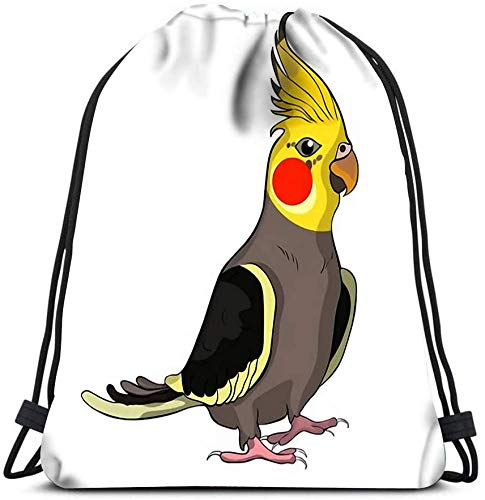 Drawstring Backpack, Corella Nymph Parrot Cockatoo Family Laundry Bag Gym Yoga Bag