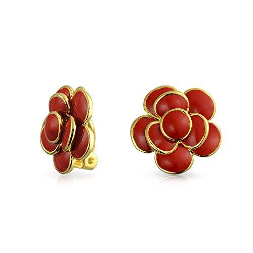 Rojo esmalte rosa flor primavera retro clip en pendientes estilo botón para orejas no perforadas 14K oro chapado latón