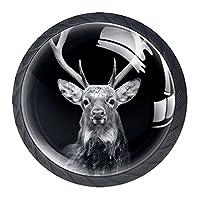 キャビネットノブ4個クリスタルガラスプルハンドル暗い背景の鹿 家具のドアまたは引き出しを開く場合