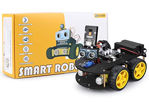 ELEGOO UNO R3 Project Smart Robot Car Kit V4 with UNO R3, Line Tracking Module, Ultrasonic Sensor, IR Remote Control etc. Intelligent and Educational Toy Car Robotic Kit for Arduino Learner
