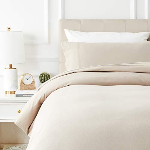 AmazonBasics - Juego de cama de franela con funda nórdica - 135 x 200 cm/50 x 80 cm x 1, Topo