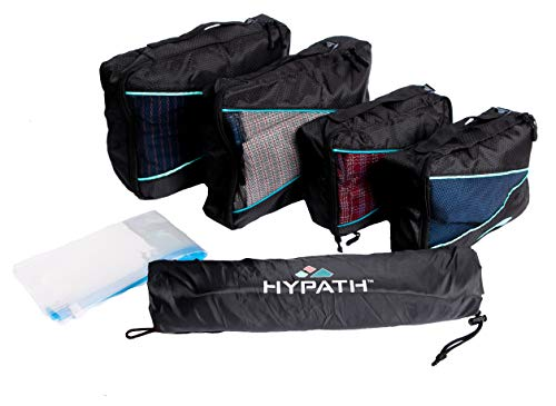 Hypath Packing 7 Piece Cube Set with Vacuum Roller Storage Bags and Laundry Sack