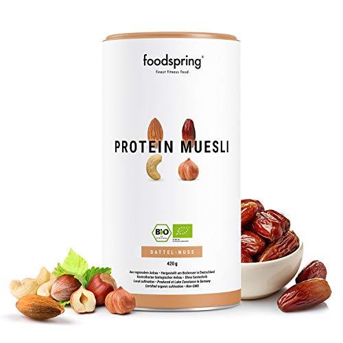 foodspring Muesli Proteico,Datteri-Noci, 420g, Prodotto in Germania, Qualità bio 100%