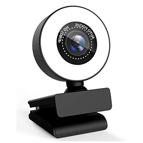 Webcam Streaming HD 1080p con Micrófono Dual y Anillo de luz, PTN Web CAM Enfoque Automático Avanzado de Doble Cancelación de Ruido, Video CAM Plug and Play para Videollamadas, Conferencias