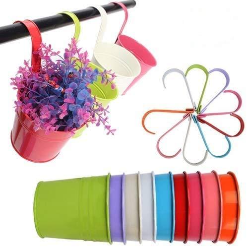 10 Stück 10cm Metall Blumentöpfe zum Aufhängen mit abnehmbarem Haken, Metall Pflanztopf hängen Hängetöpfe am Balkon Fenster Zaun in 10 Farben