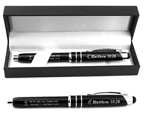"""Matthew 19:26 Bible Gift Pen - """"With God All Things are Possible."""" - Engraved Metal Pen w/ LED Light & Stylus Tip - Scripture Gift for Christian Man Woman"""
