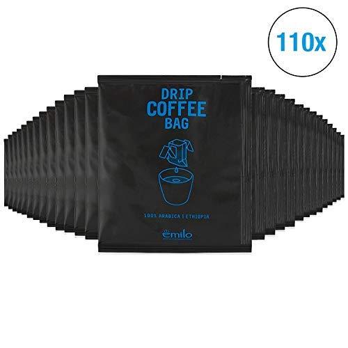 Filterkaffee von emilo - 100% Arabica Kaffee Vorratsbox - Filterbeutel mit gemahlenem Kaffee zum selbst aufbrühen – Frisch gerösteter aroma Kaffee – Drip Coffee Bag ETHIOPIA, 110 Stück