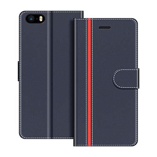 COODIO Handyhülle für iPhone 5S Handy Hülle, iPhone E Hülle Leder Handytasche für iPhone SE/iPhone 5S / iPhone 5 Klapphülle Tasche (Nicht kompatibel mit iPhone SE 2020), Dunkel Blau/Rot