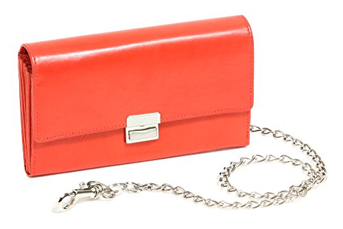 LEAS portemonnee van taxi chauffeur met ketting chroom, echt leer, Red Chain Series