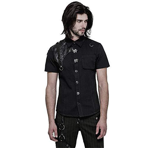 PUNK Gothic Short Sleeves Men Shirts Fashion Rock Metal Buckle PU Leather Tops (XL) Black