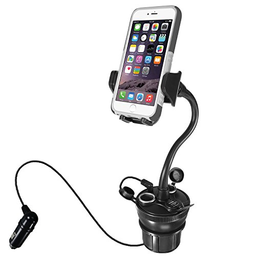Macally Car Cup Holder Phone Mount with 2 USB Charging Ports & 2 Cigarette...