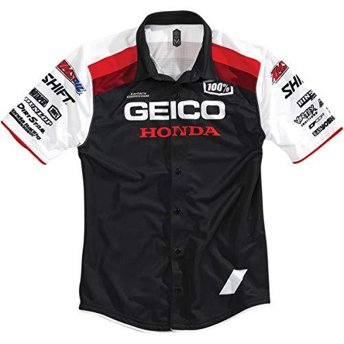 100% Men's Approach Pit Geico/Honda Shirts,Medium,Black