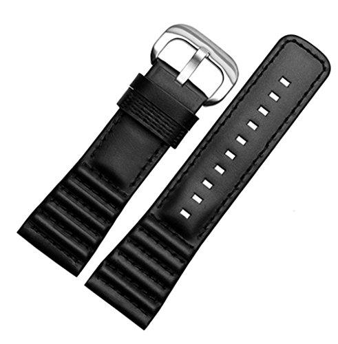 [Richie Strap] 28 mm schwarzes Leder-Uhrenarmband, Schnalle für SevenFriday P1 P2 P3 Uhren (schwarz) Edelstahl-Schnalle