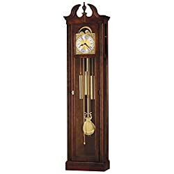 Howard Miller Hau Floor Clock 547-022 – Windsor Cherry Vertical Home Decor with Chain-Driven, Single-Chime Movement & Chime Silence Option