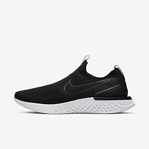 Nike Men's Epic Phantom React Flyknit Running Shoes (12, Black/Black/White)