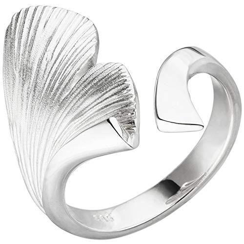 JOBO Damen-Ring aus 925 Silber mit Ginkgo-Motiv Größe 56