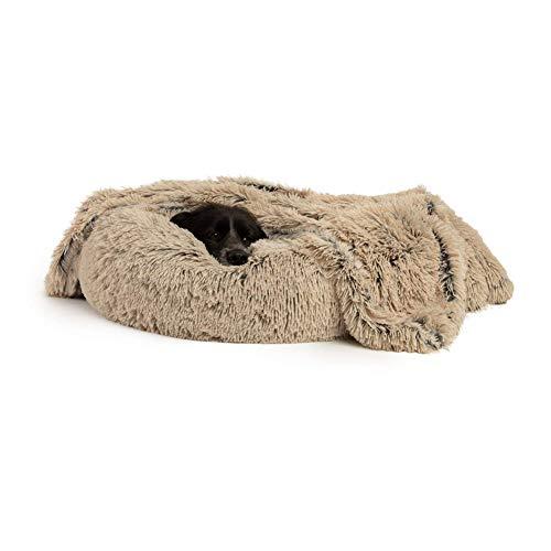 DEEN Komfort Hundesofa mit Hundedecke Flauschig Warm Plüsch Hundebett, Abnehmbar Waschbar Hundekorb Runde Orthopädisches Hölenbett für Mittelgroße Große Hunde Waschbar Haustiermatratze