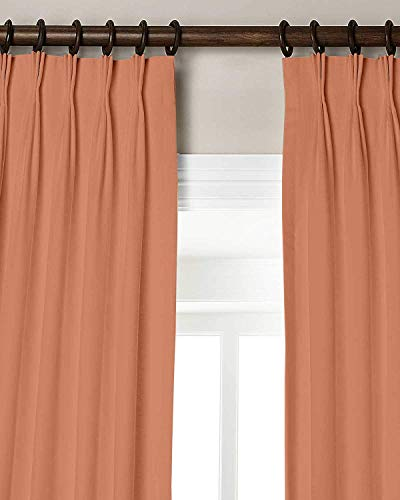 """Magic Drapes Triple Pinch Pleat Blackout Curtain 100% Polyester Thermal Insulated Room Darkening Spill Proof Machine Washable Window Treatment Panels for Home W(21""""+21"""") L63 (2 Panels Combined, Peach)"""